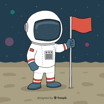 Astronauta no fundo da lua