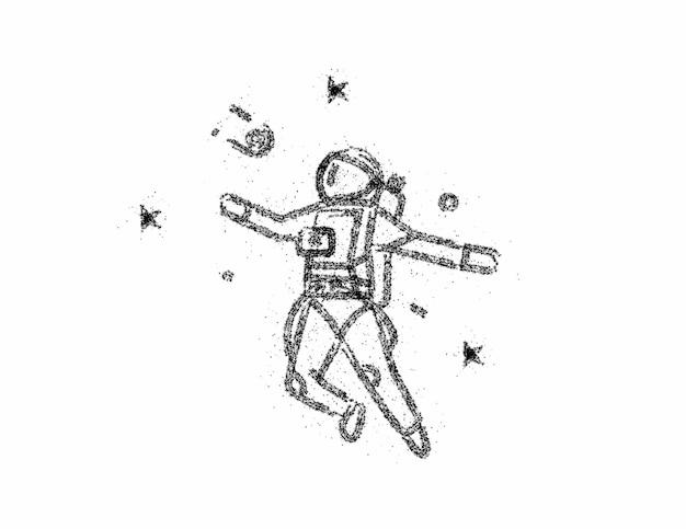 Astronauta no ícone do traje espacial, ilustração vetorial design.
