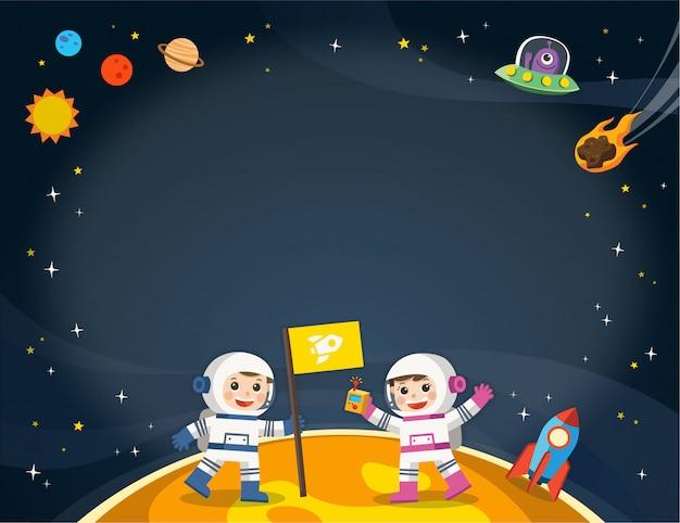 Astronauta no planeta com uma nave alienígena. cenas do espaço. modelo de folheto de publicidade.