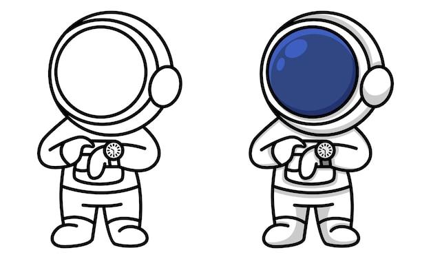 Astronauta olhando a página para colorir do relógio para crianças