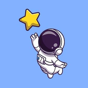 Astronauta pegando estrela dos desenhos animados ícone ilustração vetorial. conceito de ícone de tecnologia de ciência vetor premium isolado. estilo flat cartoon