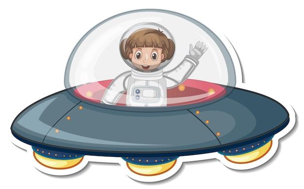 Astronauta personagem de desenho animado em ovni em estilo adesivo