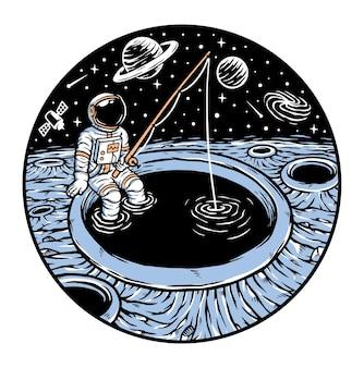 Astronauta pescando no planeta