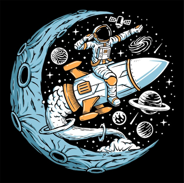 Astronauta pilotando foguete na ilustração da lua