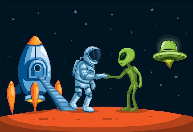 Astronauta pousando no planeta cumprimentando e apertando a mão com o conceito alienígena em uma ilustração de desenho animado.