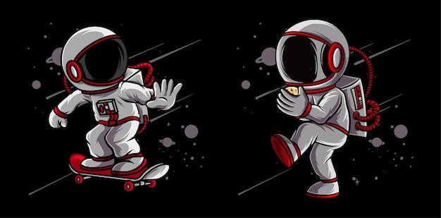 Astronauta pratica beisebol e skate