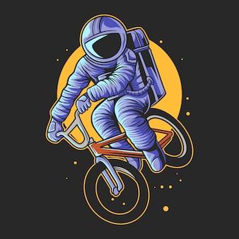 Astronauta pular com bicicletas bmx sobre a ilustração vetorial de lua
