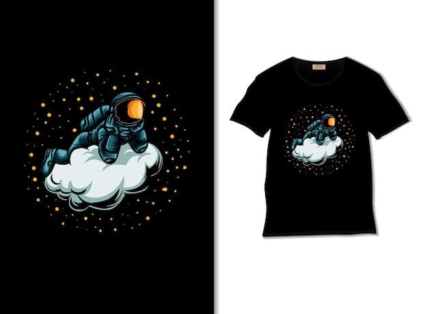 Astronauta relaxando na ilustração da nuvem com o design da camiseta