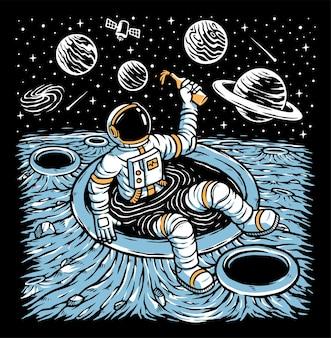 Astronauta relaxando no planeta
