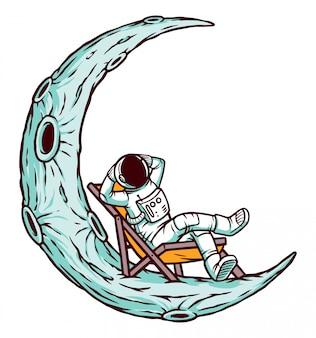 Astronauta relaxante na ilustração da lua