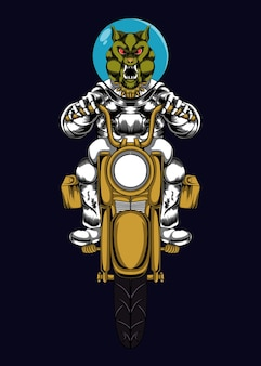 Astronauta riding motorcycle illustration