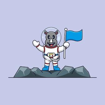 Astronauta rinoceronte para a lua modelo de mascote de desenho animado