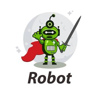 Astronauta robô logotipo design premium