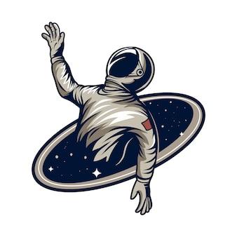 Astronauta se afogar na ilustração do buraco negro