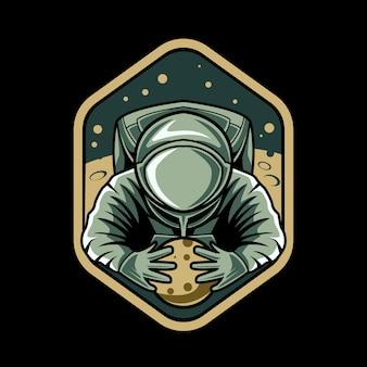 Astronauta segura planeta emblema ilustração design