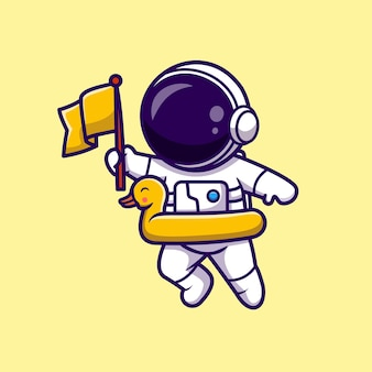 Astronauta segurando a bandeira com ilustração de ícone de vetor de balão pato. conceito de ícone de férias de ciência isolado vetor premium. estilo flat cartoon