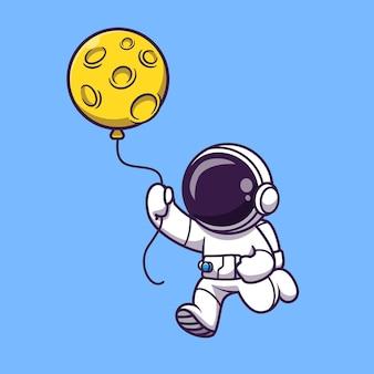 Astronauta segurando a ilustração dos desenhos animados do balão da lua. conceito de tecnologia da ciência isolado. estilo flat cartoon
