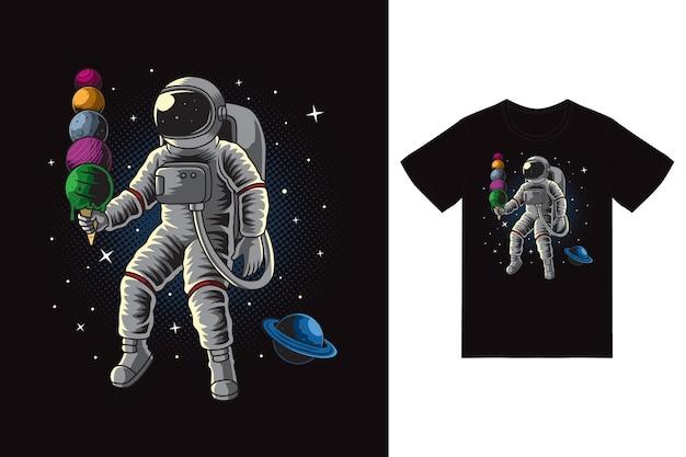 Astronauta segurando ilustração de sorvete com vetor premium de design de camiseta