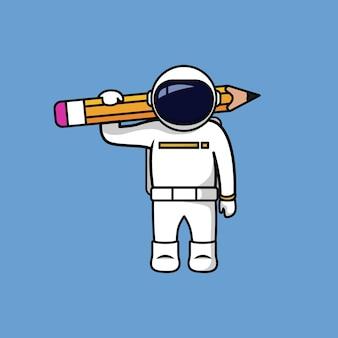 Astronauta segurando um lápis grande de volta para a ilustração do desenho animado da escola