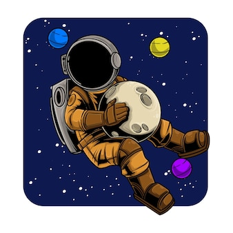 Astronauta segurando uma bola de lua no espaço