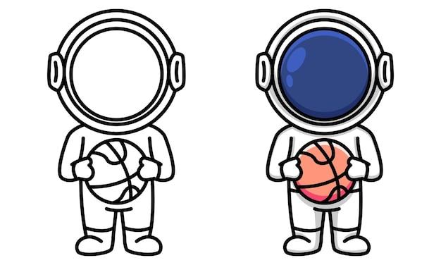 Astronauta segurando uma página para colorir de basquete para crianças