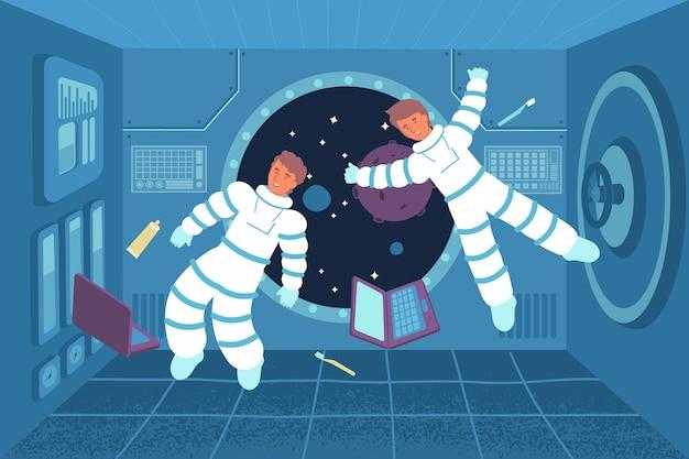 Astronauta sem gravidade, composição plana com vista de dois cosmonautas flutuando dentro da nave espacial com laptops e ilustração de escovas de dente