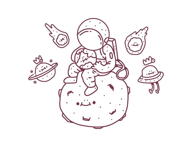 Astronauta sentado na lua. ilustração do doodle do astronauta