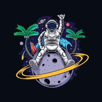 Astronauta sentado no planeta saturno com coqueiros e uma praia de verão no espaço sideral