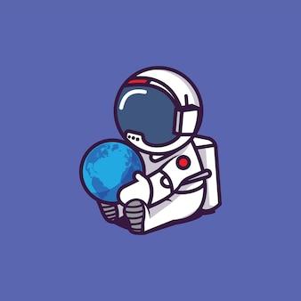 Astronauta sentado segurando a terra em seu colo