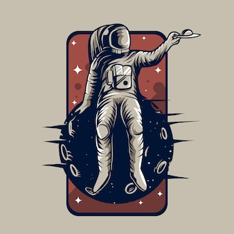 Astronauta sentar em um emblema do planeta