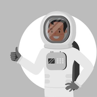 Astronauta sorrir polegar para cima como personagem