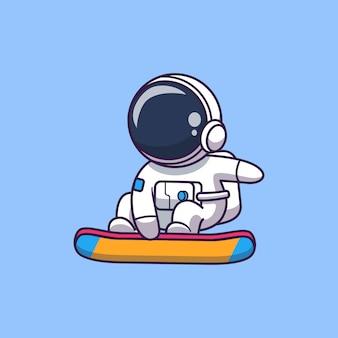 Astronauta surfando na lua icon ilustração. personagem de desenho animado do mascote do astronauta. conceito de ícone de ciência isolado