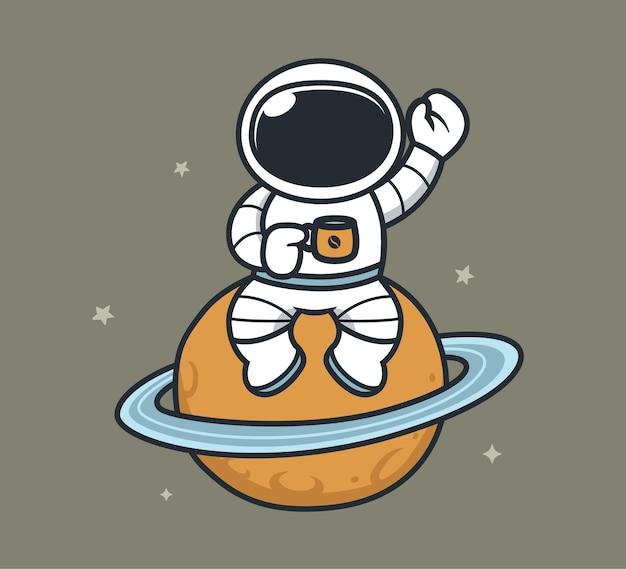 Astronauta tomando café e sentado no planeta
