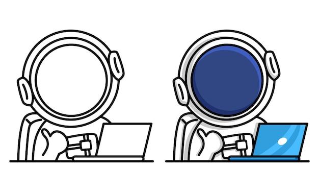 Astronauta trabalhando na página para colorir de laptop para crianças