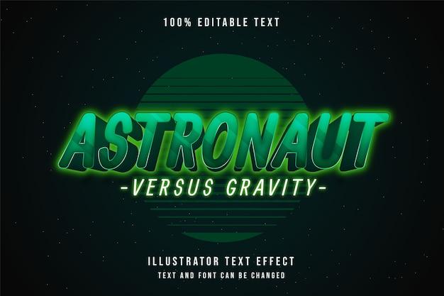 Astronauta versus gravidade, efeito de texto editável em 3d gradação verde amarelo neon sombra estilo de texto
