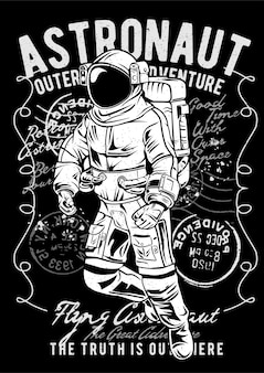 Astronauta voador, pôster de ilustração vintage.