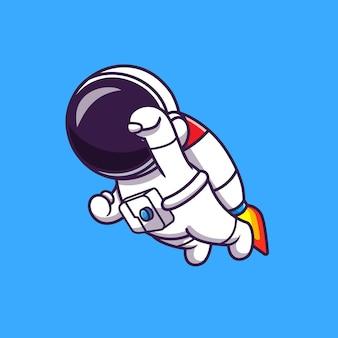 Astronauta voando com ilustração de foguete