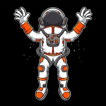 Astronauta voando desenho animado