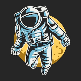 Astronauta voando no espaço sobre a lua, design