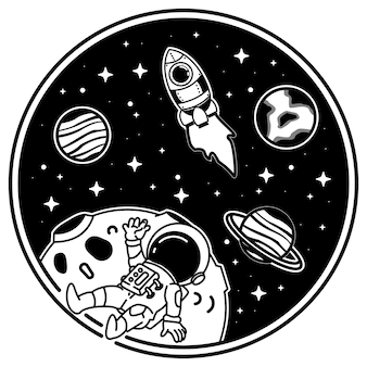 Astronautas ao redor dos planetas