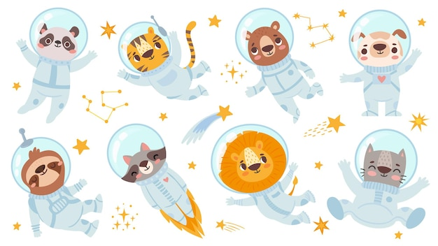 Astronautas de animais. animal bonito da equipe espacial em trajes espaciais, universo estrelado com cosmonautas para conjunto de caracteres de vetor de panfleto de impressão infantil. panda e tigre, urso e cachorro, preguiça e leão-guaxinim, gato
