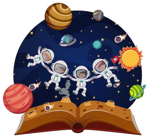 Astronautas de crianças no espaço pop-up livro