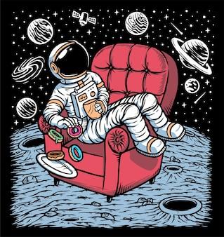 Astronautas desfrutando de café e donuts no planeta