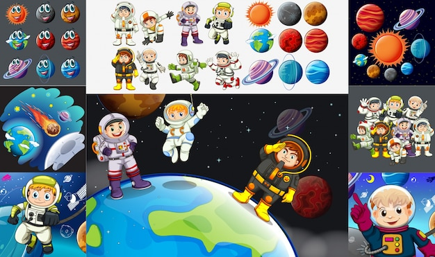Astronautas e planetas no sistema solar