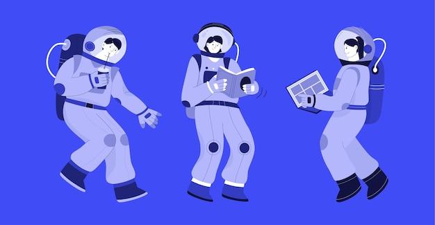 Astronautas em conjunto espacial isolado em azul
