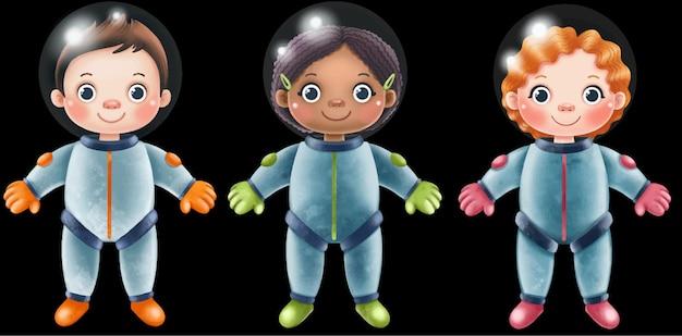 Astronautas em trajes espaciais em um fundo preto
