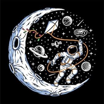 Astronautas empinando pipas na lua