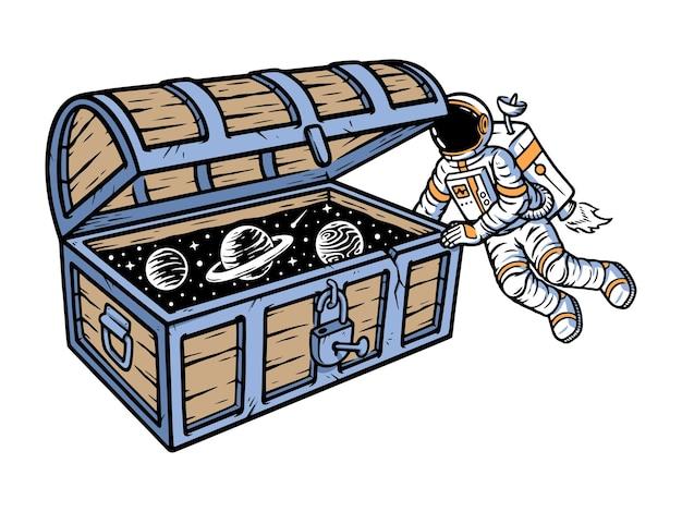Astronautas encontram ilustração de baús de tesouro