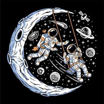 Astronautas jogando swing na lua