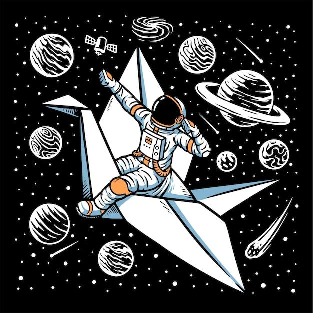 Astronautas montando pássaros de papel isolados no preto